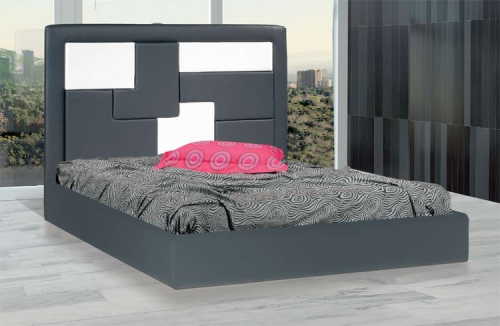 Leatherette bed gray-white