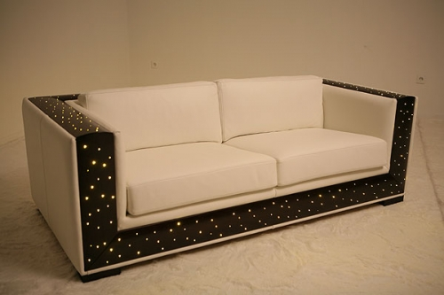 Sofas with optical fibers