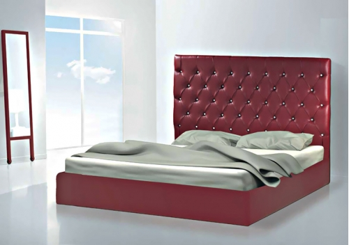 Leatherette bed red